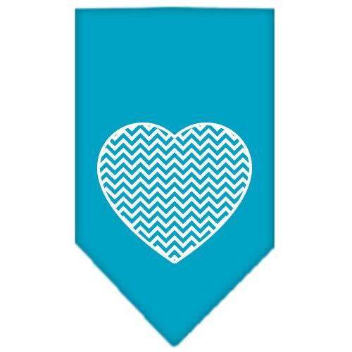 Chevron Heart Screen Print Bandana Turquoise Large