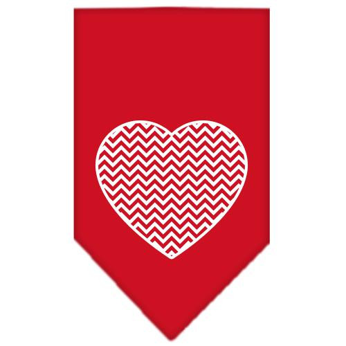 Chevron Heart Screen Print Bandana Red Large