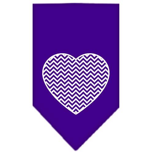 Chevron Heart Screen Print Bandana Purple Large