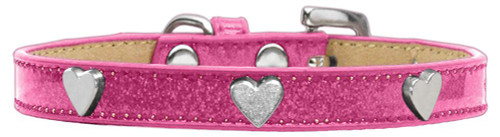 Silver Heart Widget Dog Collar Pink Ice Cream Size 14