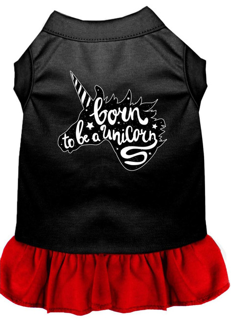 Born To Be A Unicorn Screen Print Dog Dress Black With Red Xs (8)