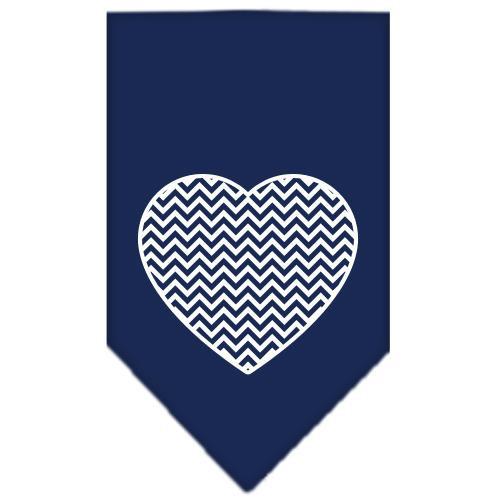 Chevron Heart Screen Print Bandana Navy Blue Large