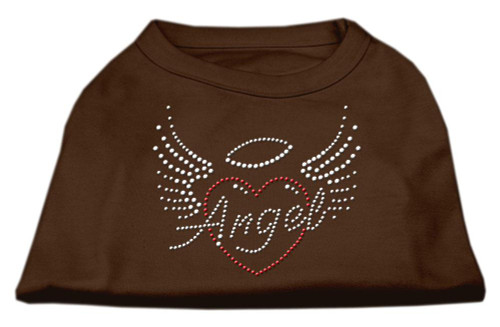 Angel Heart Rhinestone Dog Shirt Brown Sm (10)