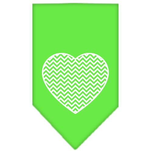 Chevron Heart Screen Print Bandana Lime Green Large
