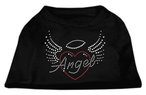 Angel Heart Rhinestone Dog Shirt Black Sm (10)