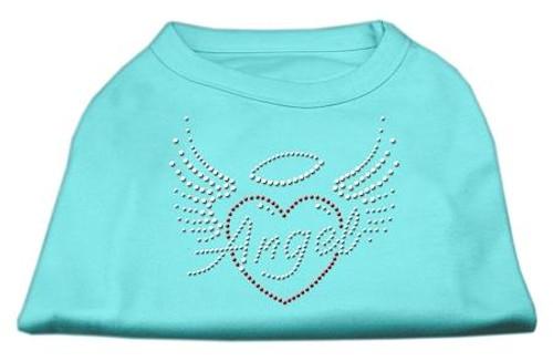 Angel Heart Rhinestone Dog Shirt Aqua Sm (10)
