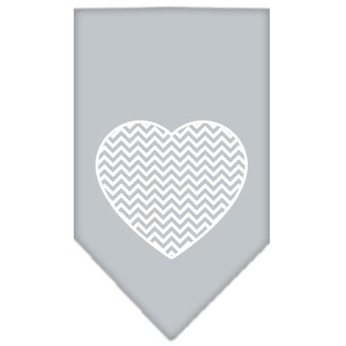 Chevron Heart Screen Print Bandana Grey Large