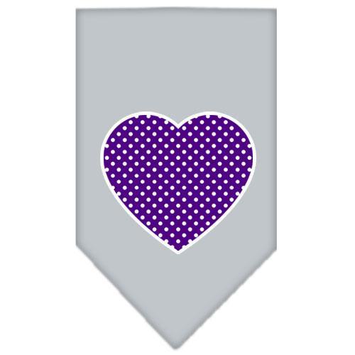 Purple Swiss Dot Heart Screen Print Bandana Grey Small