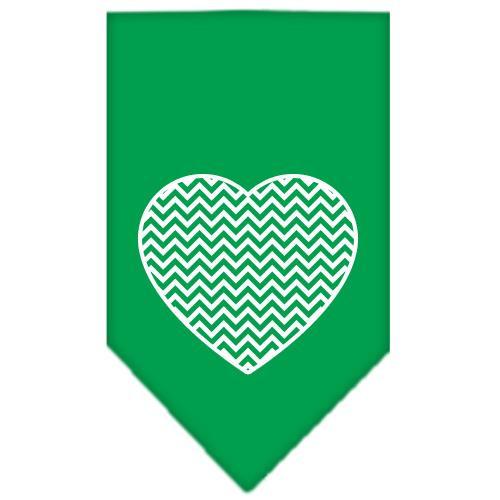 Chevron Heart Screen Print Bandana Emerald Green Large