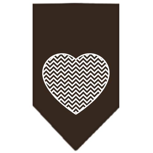 Chevron Heart Screen Print Bandana Brown Large