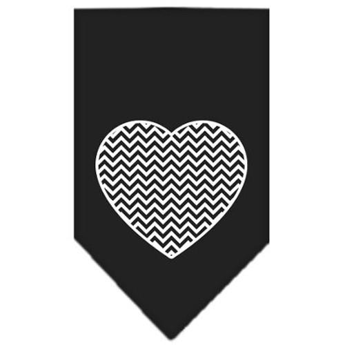 Chevron Heart Screen Print Bandana Black Large