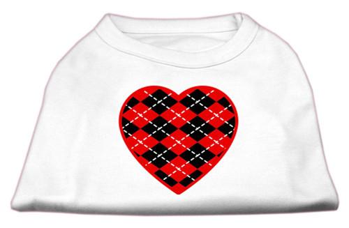 Argyle Heart Red Screen Print Shirt White Xs (8)