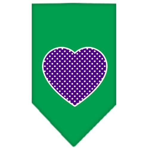 Purple Swiss Dot Heart Screen Print Bandana Emerald Green Small