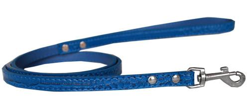 Plain Croc Leash Blue 1/2'' Wide X 4' Long