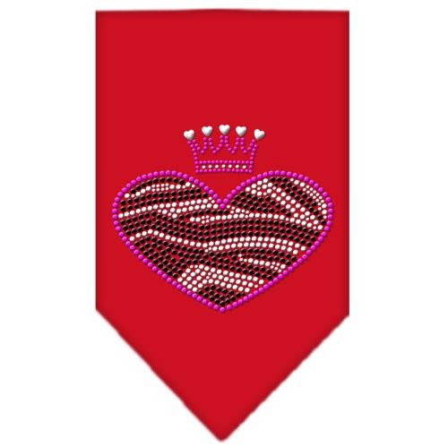 Zebra Heart Rhinestone Bandana Red Small