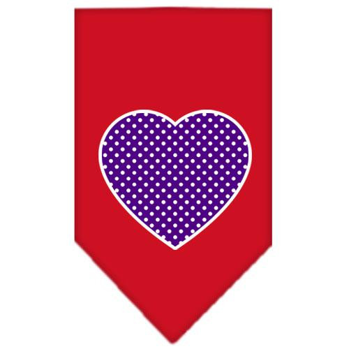 Purple Swiss Dot Heart Screen Print Bandana Red Small