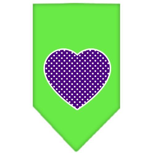 Purple Swiss Dot Heart Screen Print Bandana Lime Green Small