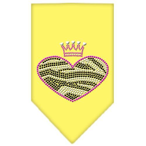 Zebra Heart Rhinestone Bandana Yellow Small