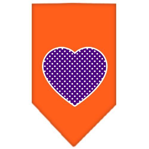 Purple Swiss Dot Heart Screen Print Bandana Orange Small