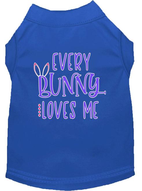 Every Bunny Loves Me Screen Print Dog Shirt Blue Xs (8)