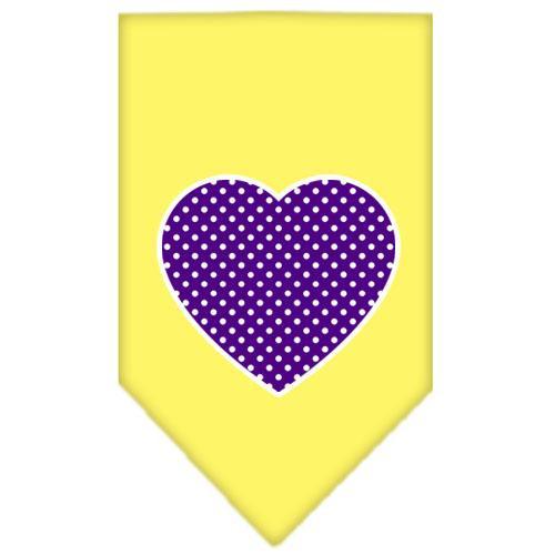 Purple Swiss Dot Heart Screen Print Bandana Yellow Small