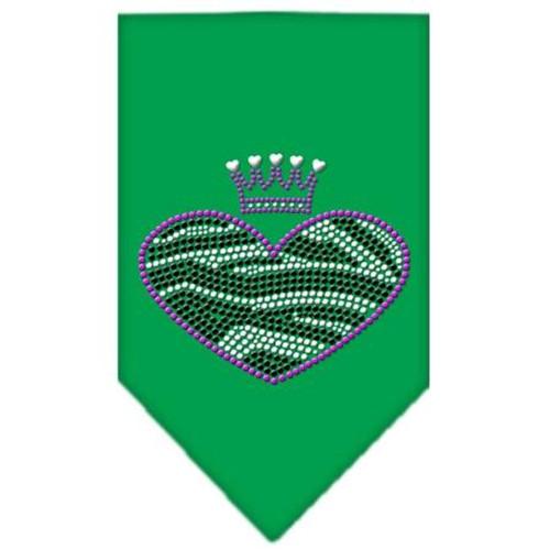 Zebra Heart Rhinestone Bandana Emerald Green Small