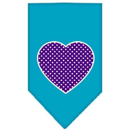 Purple Swiss Dot Heart Screen Print Bandana Turquoise Small