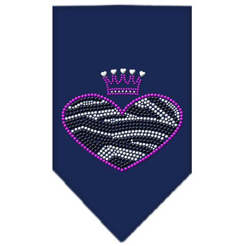 Zebra Heart Rhinestone Bandana Navy Blue Small