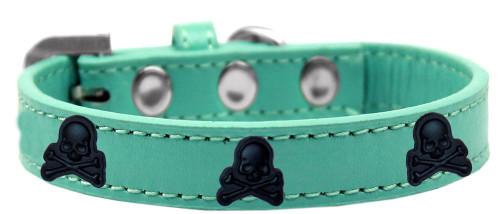 Skull Widget Dog Collar Aqua Size 14