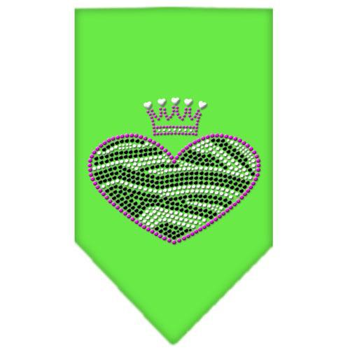 Zebra Heart Rhinestone Bandana Lime Green Small