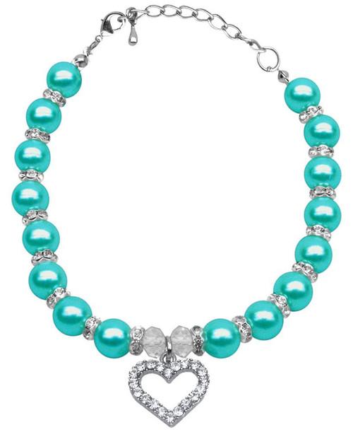 Heart And Pearl Necklace Aqua Lg (10-12)