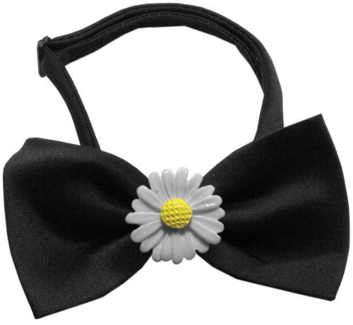 White Daisies Chipper Black Bow Tie
