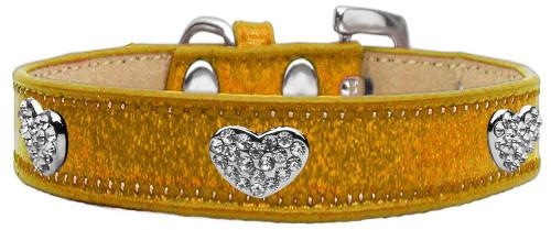 Crystal Heart Dog Collar Gold Ice Cream Size 16