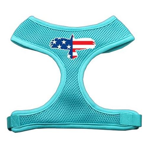 Eagle Flag  Screen Print Soft Mesh Harness Aqua Extra Large