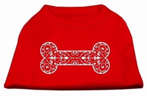 Henna Bone Screen Print Shirt Red Med (12)