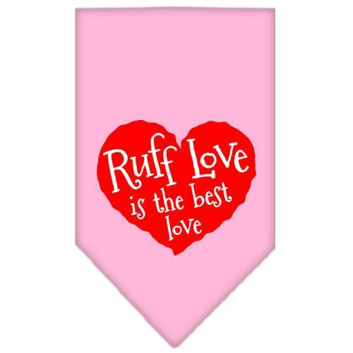 Ruff Love Screen Print Bandana Light Pink Small