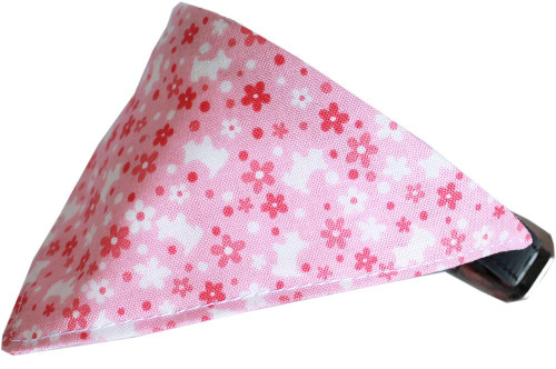 Pink Scottie Bandana Pet Collar  Black Size 12