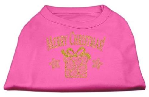 Golden Christmas Present Dog Shirt Bright Pink Sm (10)