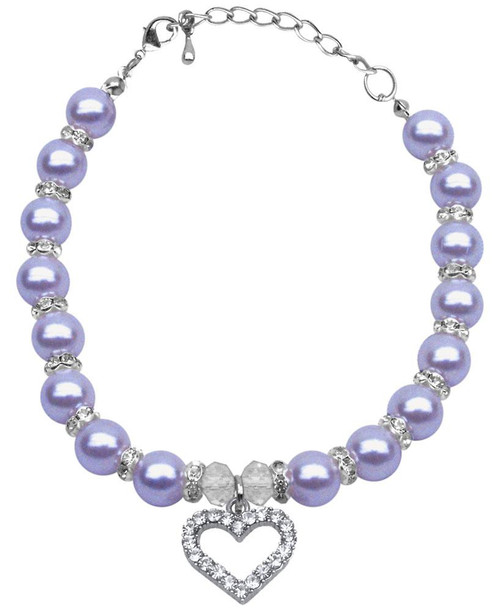 Heart And Pearl Necklace Lavender Lg (10-12)