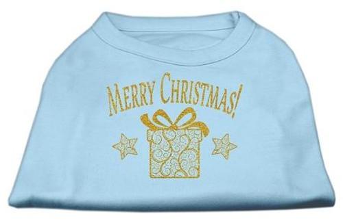 Golden Christmas Present Dog Shirt Baby Blue Xl (16)