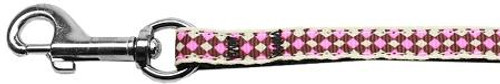 Pink Checkers Nylon Dog Leash 3/8 Wide 6ft Lsh
