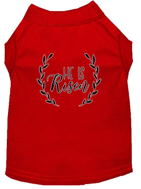 He Is Risen Screen Print Dog Shirt Red Xs (8)