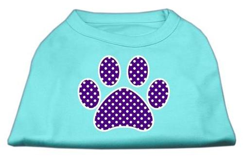 Purple Swiss Dot Paw Screen Print Shirt Aqua Lg (14)