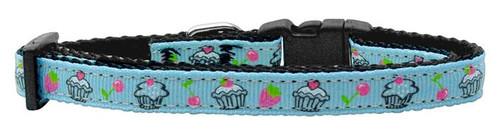 Cupcakes Nylon Ribbon Collar Baby Blue X-small