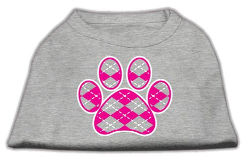 Argyle Paw Pink Screen Print Shirt Grey Lg (14)
