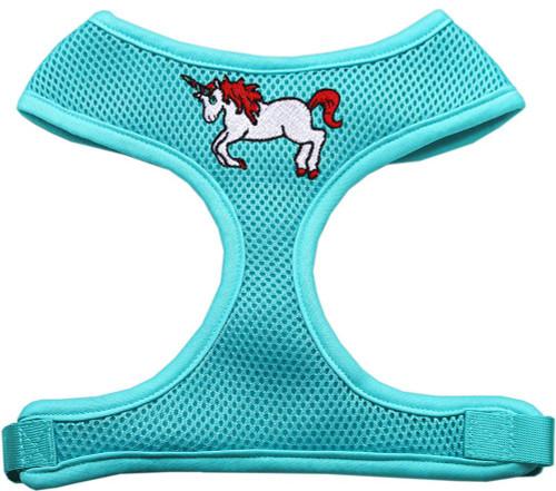 Unicorn Embroidered Soft Mesh Harness Aqua Large