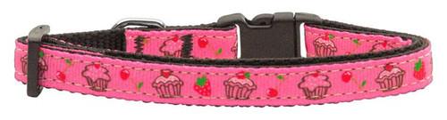 Cupcakes Nylon Ribbon Collar Bright Pink X-small