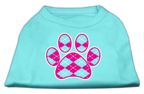 Argyle Paw Pink Screen Print Shirt Aqua Lg (14)