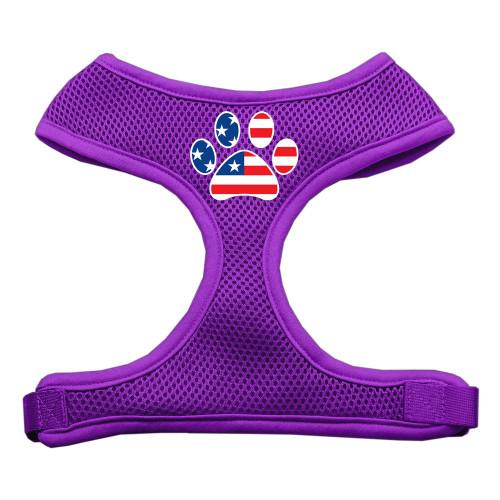 Paw Flag Usa Screen Print Soft Mesh Harness Purple Small
