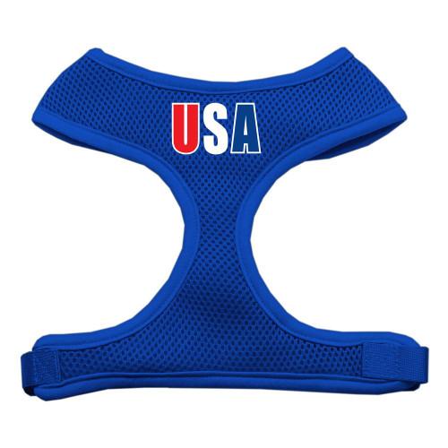 Usa Star Screen Print Soft Mesh Harness Blue Medium